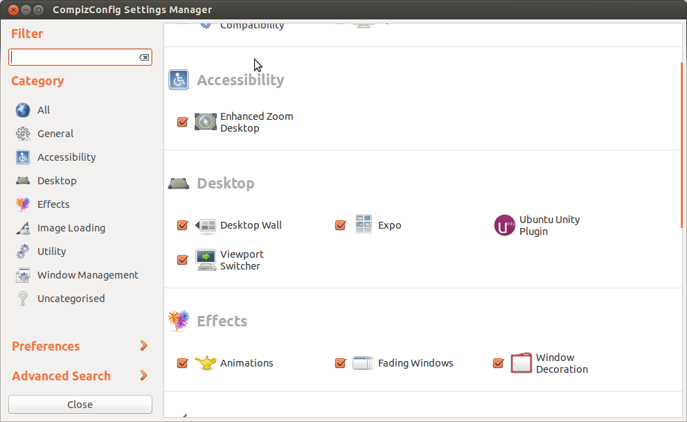 The CompizConfig Settings Manger
