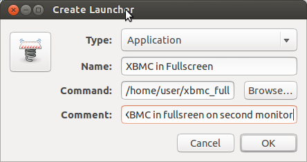 Attaching this shortcut to the Launcher will allow you to run XBMC fullscreen in second monitor