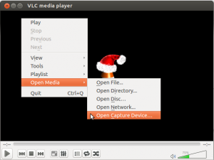 Picture showing the Open Capture Device option in VLC