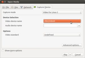 Picture showing the video capture device selection box