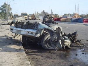 A picture of a bombed car could be a trigger for PTSD
