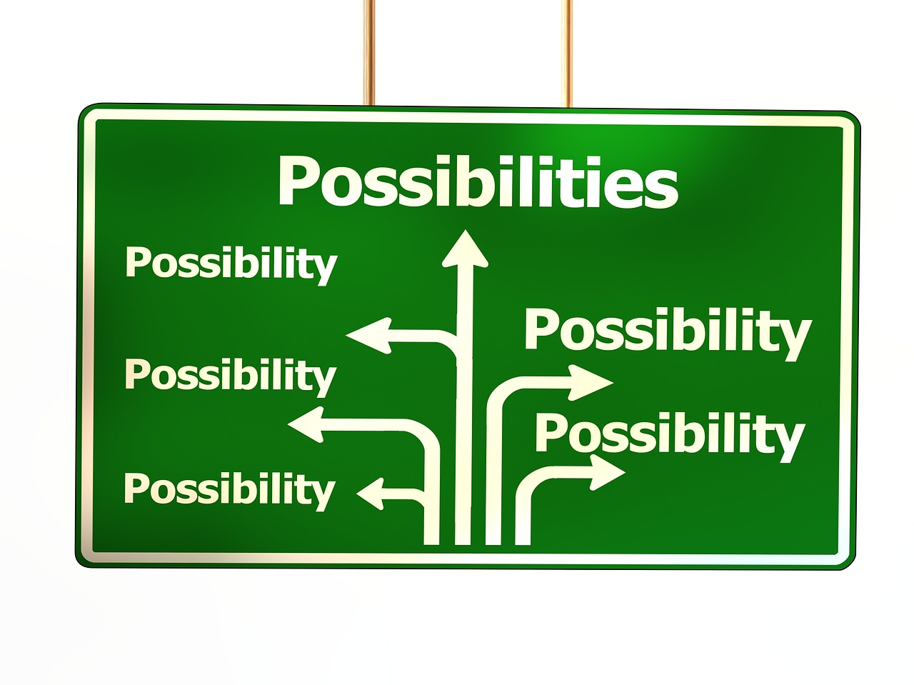 A sign saying 'possibilities' on numerous arrows
