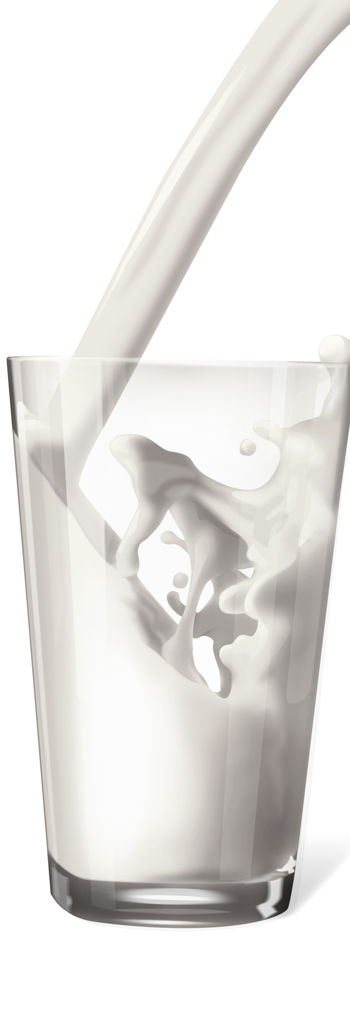 An image of a glass with milk being poured into it