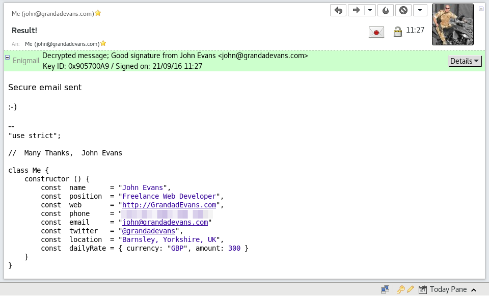 Screenshot of decrypted email after sending secure email