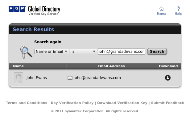 Screenshot of the PGP directory with my address listed as the result of a search