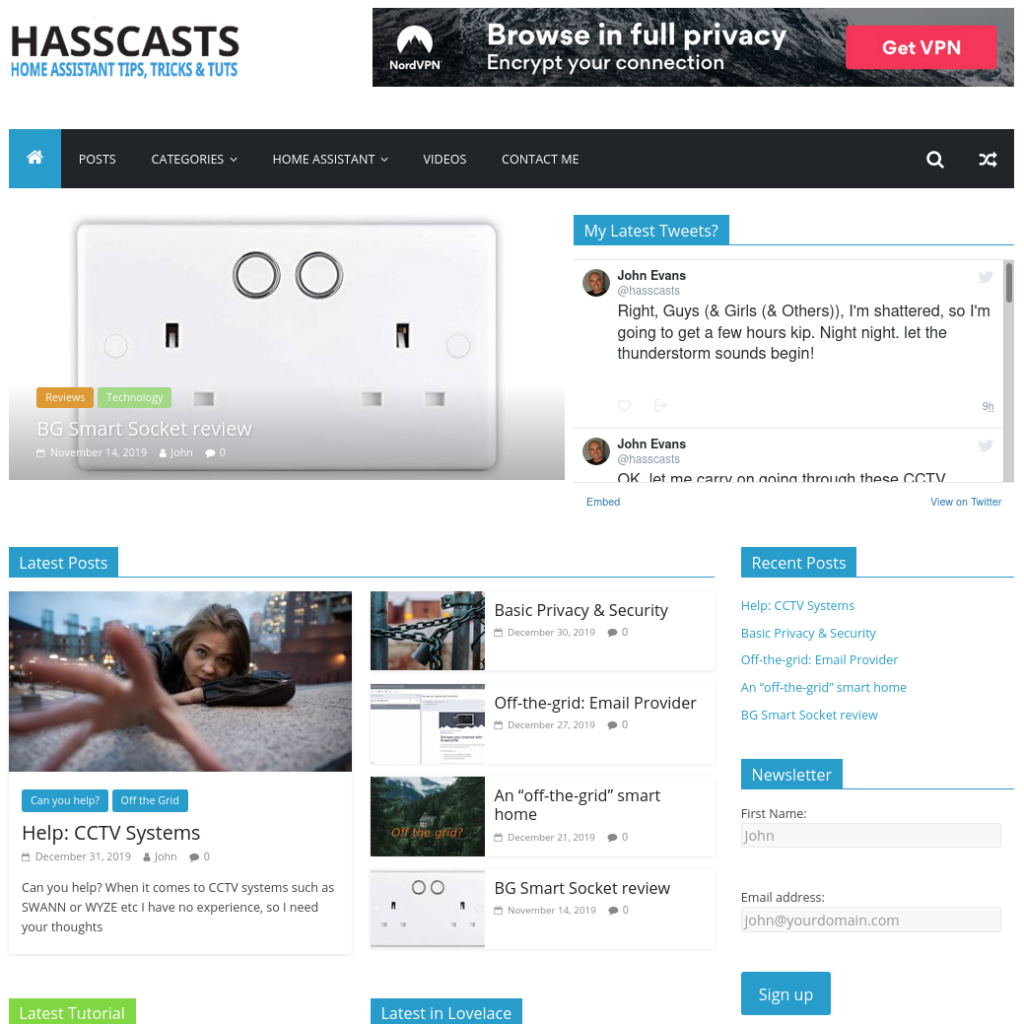 screenshot of my HASSCASTS site
